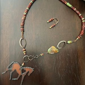 Turquoise Jasper Rustic Iron Horse Necklace Set